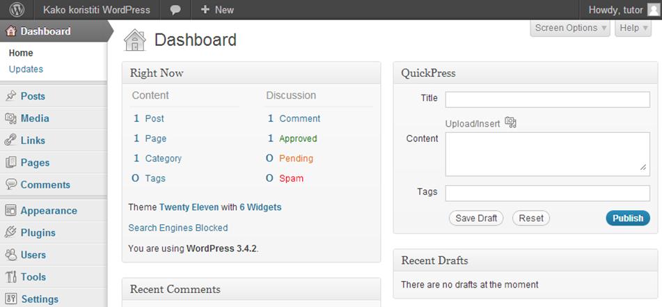 Nadzorna ploča WordPressa